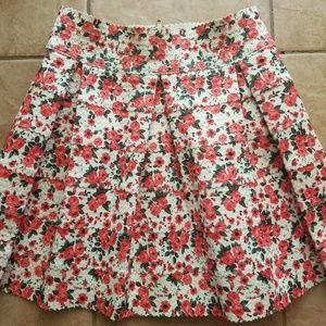 Floral high waist stretchy skirt